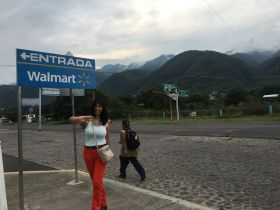 Jet Metier walking to WalMart in Mexico